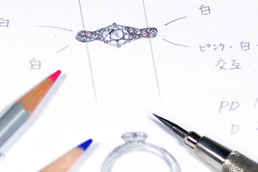 オーダーメイドのエンゲージリングのデザイン画。世界に1つだけのエンゲージリングを最高に輝くダイヤモンドでどうぞ