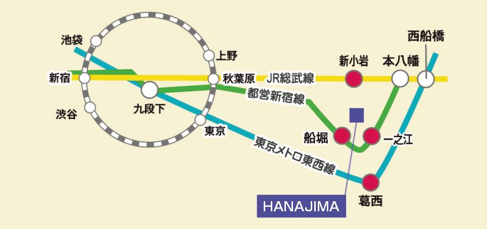 ハナジマ アクセスマップ 略図