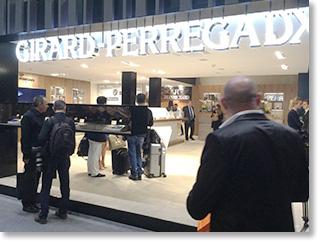 スイス バーゼルワールド、世界最大の腕時計の商談会に参加。ジラールペルゴのブース入口。商談を予定。