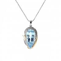 ペアシェイプのアクアマリンとダイヤモンドのペンダント 01