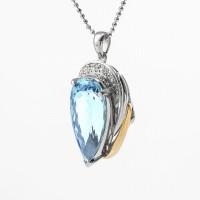 ペアシェイプのアクアマリンとダイヤモンドのペンダント 02