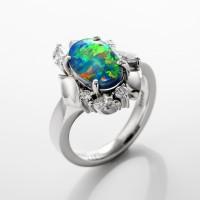 ブラックオパールとダイヤモンドのリング 01