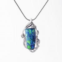 ボルダーオパールとダイヤモンドのネックレス 01