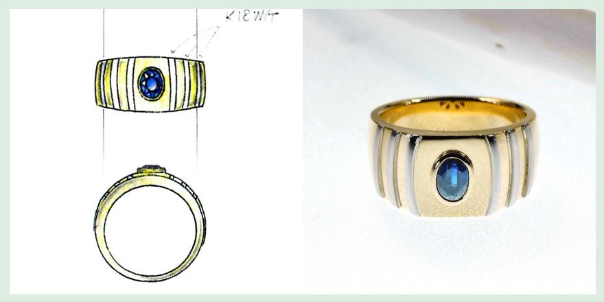 18Kと青い宝石を使ったリングのオーダーメイドジュエリー