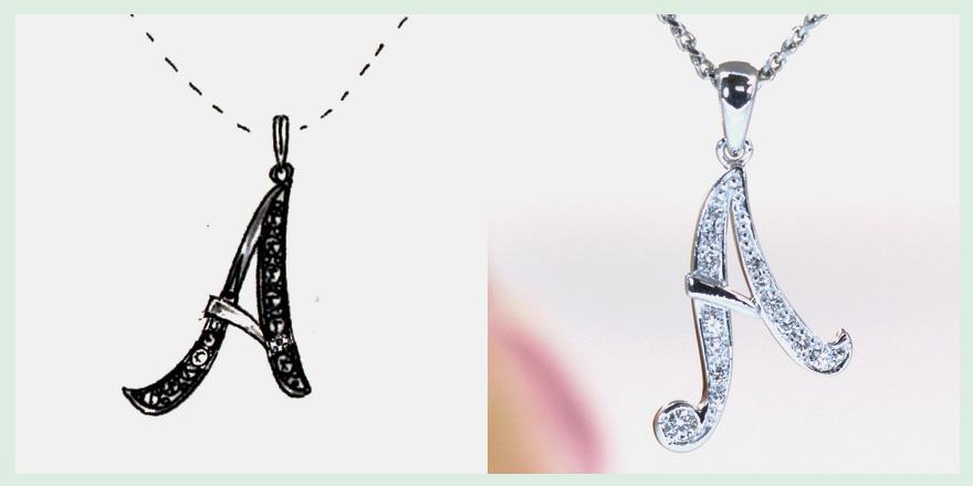 アルファベットのイニシャルが胸元で輝くダイヤモンドペンダントのオーダーメイドジュエリー