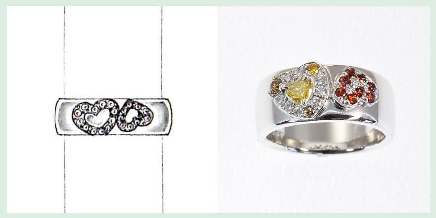 ハートの中を黄と橙の色石とダイヤモンドで埋め尽くした愛があふれるリングののオーダーメイドジュエリー