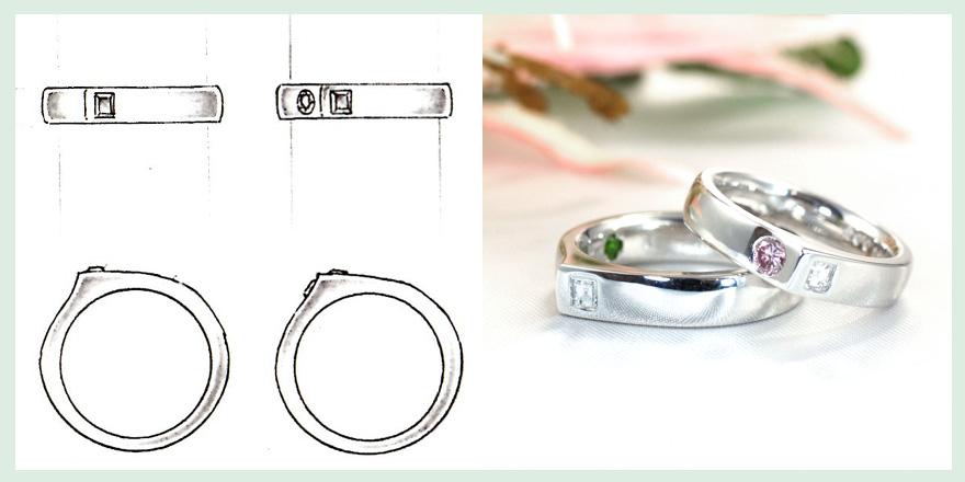 ダイヤモンド、ピンクダイヤ、エメラルドを山の稜線のようなデザインに配置したリングのオーダーメイドジュエリー