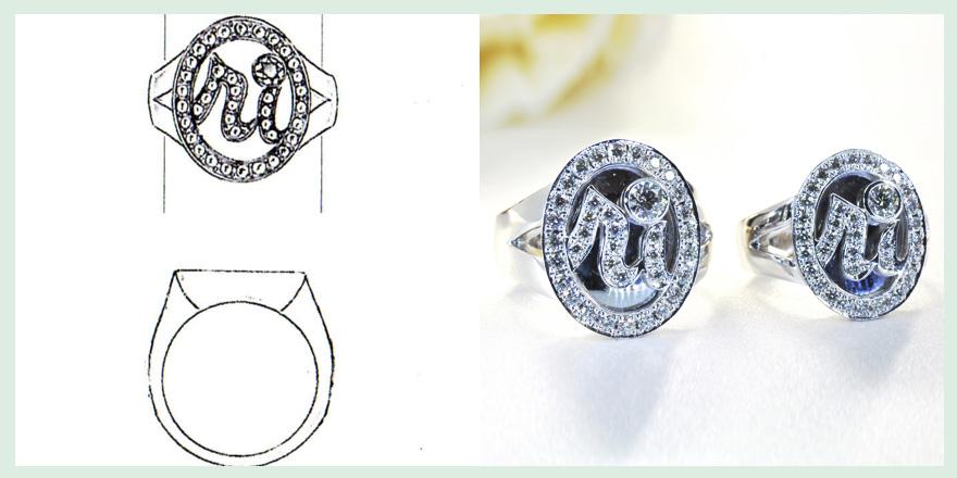 イニシャルをメレダイヤでデザインしたペアリングののオーダーメイドジュエリー