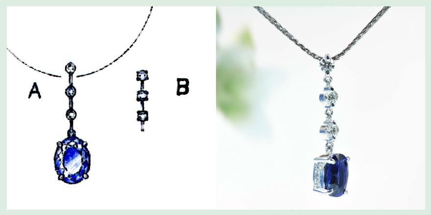 大粒の青い宝石がダイヤモンドと共に揺れるペンダントのオーダーメイドジュエリー