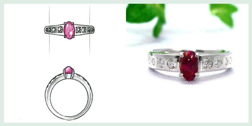 縦方向に配置した赤い宝石が特徴的なリングのオーダーメイドジュエリー