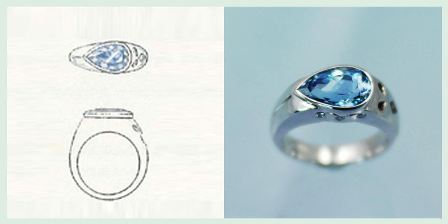 ピアシェイプのアクアマリンが美しいリングのオーダーメイドジュエリー
