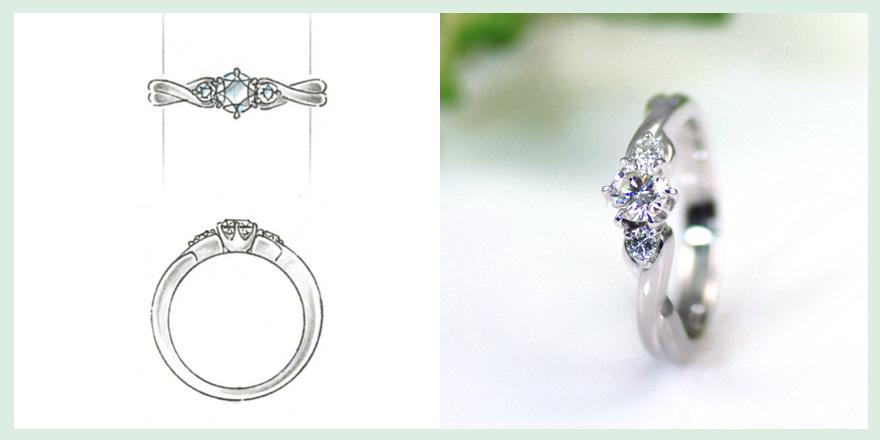 ブライダルリングと間違えそうなほど優雅で美しいデザインのダイヤモンドリングのオーダーメイドジュエリー