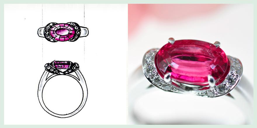 赤い大粒の宝石が特徴的なリングのオーダーメイドジュエリー