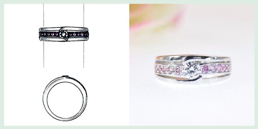ピンクダイヤモンドをふんだんに使用したリングのオーダーメイドジュエリー