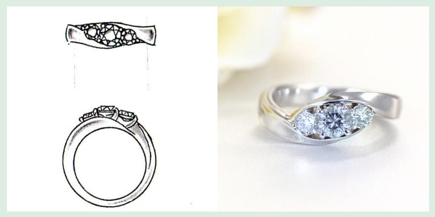 流線形プラチナ部分が特徴的なダイヤモンドリングのオーダーメイドジュエリー