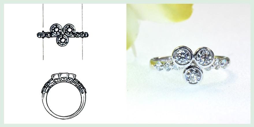 3つのダイヤモンドを三角に配置した特徴のあるデザインのリングのオーダーメイドジュエリー