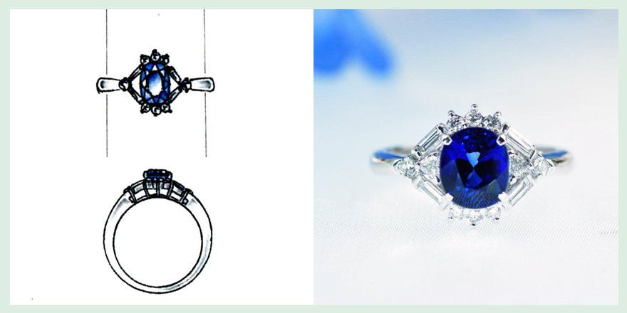 サファイアとダイヤモンドリングのオーダーメイドジュエリー