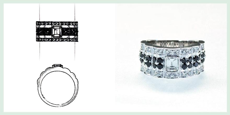 エメラルドダイヤとブラックダイヤのリングのオーダーメイドジュエリー