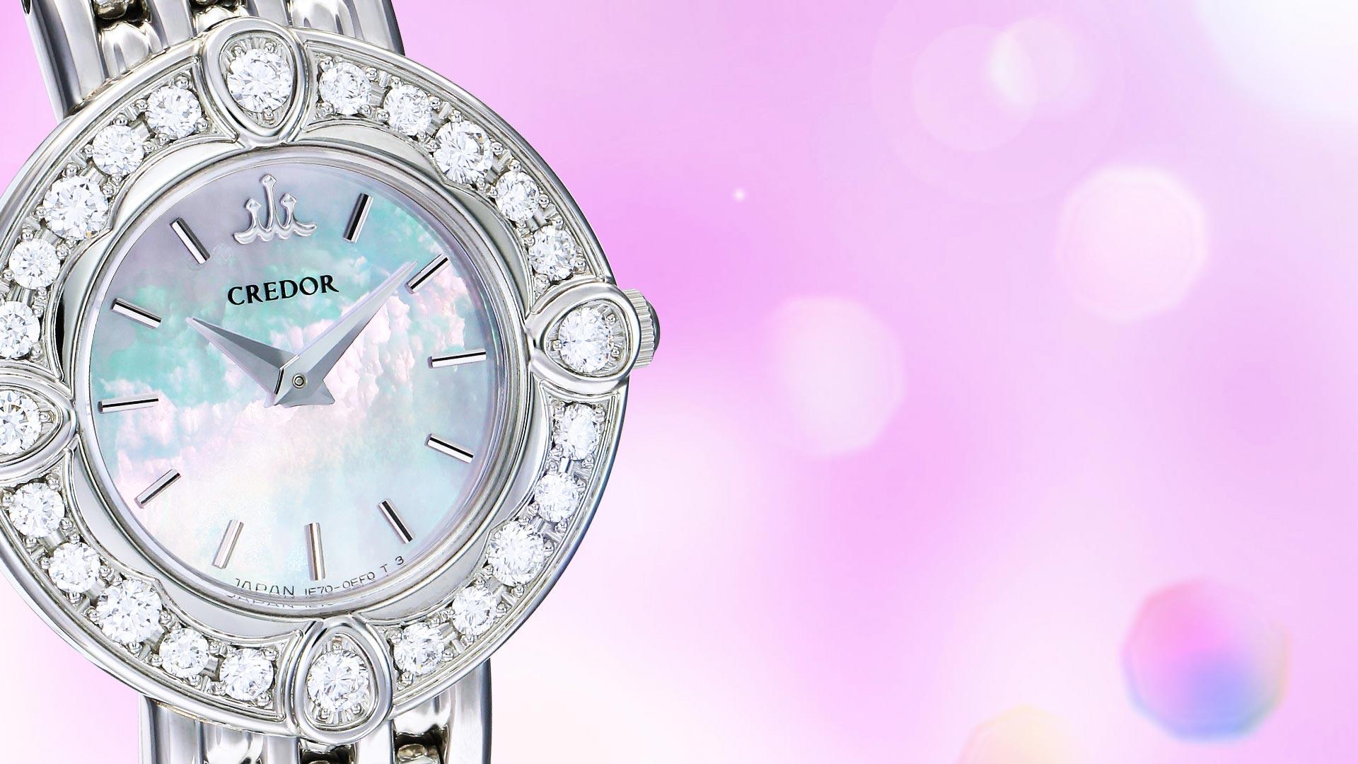 ハナジマで取り扱う腕時計を紹介するページとトップ画像。時計はセイコーのクレドール(credor)をイメージとして使用。