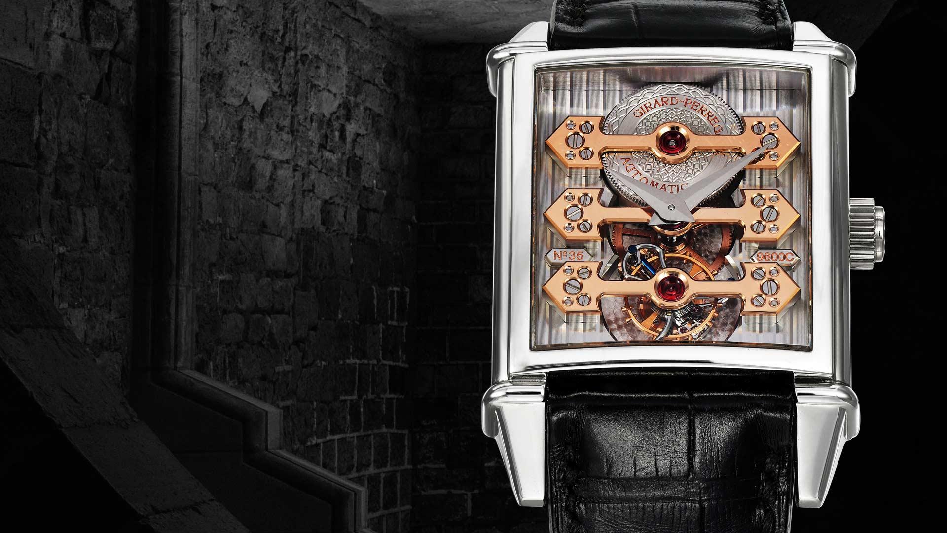 ハナジマで取り扱う腕時計を紹介するページとトップ画像。時計はジラール・ペルゴ(girard-perregaux)をイメージとして使用。