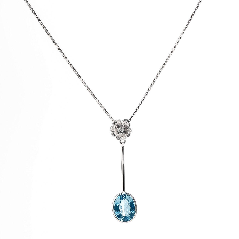 アクアマリンとダイヤモンドのペンダント 01