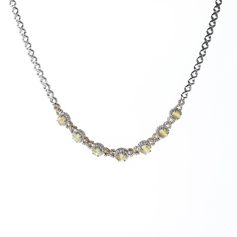 キャッツアイとダイヤモンドのネックレス 01