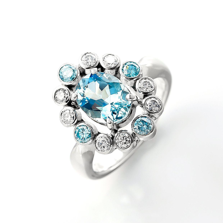 アクアマリンとブルーダイヤモンドのリング 01