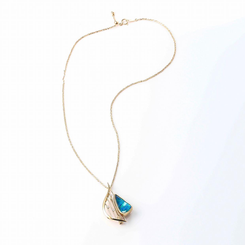 ボルダーオパールとダイヤモンドのネックレス 03