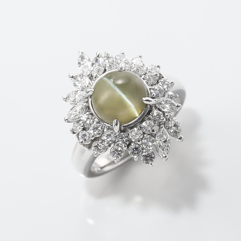 キャッツアイとダイヤモンドのリング 01
