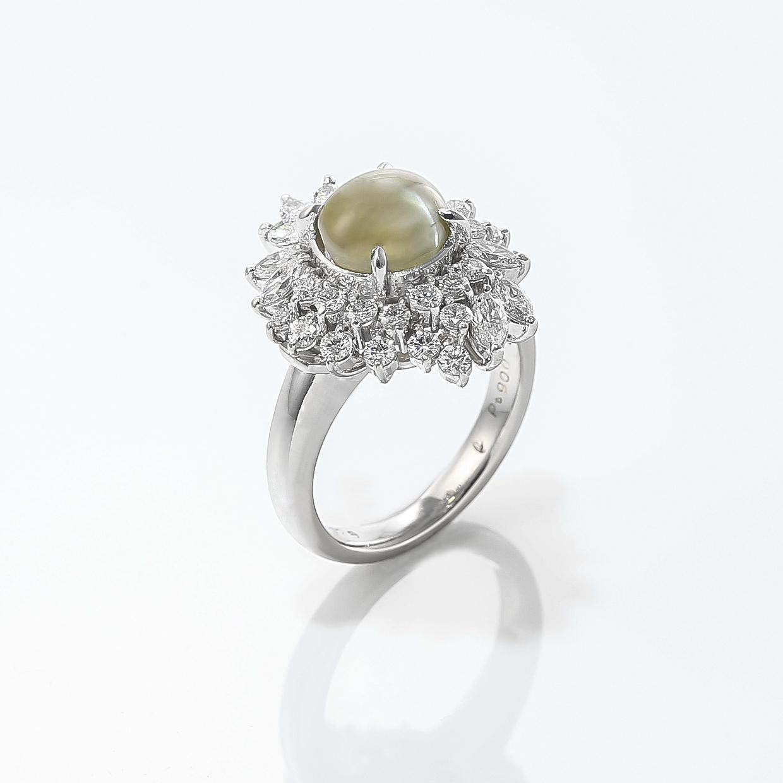 キャッツアイとダイヤモンドのリング 02