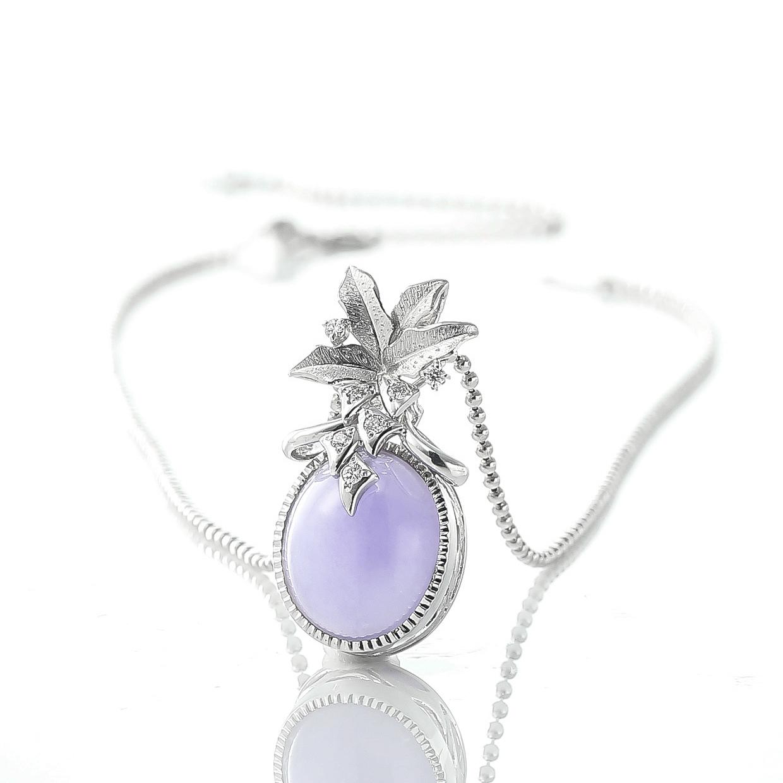 ラベンダーヒスイとダイヤモンドのネックレス 02