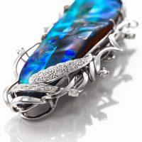 ボルダーオパールとダイヤモンドのペンダント 03