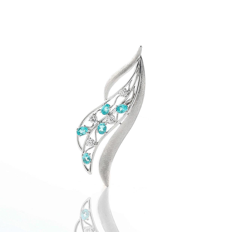 パライバトルマリンとダイヤモンドのブローチ 01