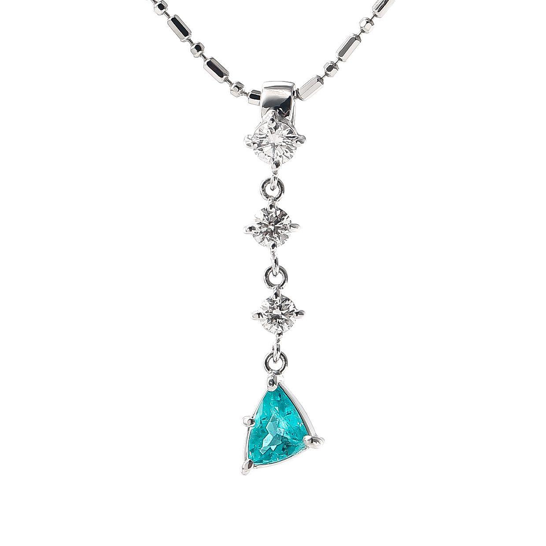 パライバトルマリンとダイヤモンドのネックレス 01