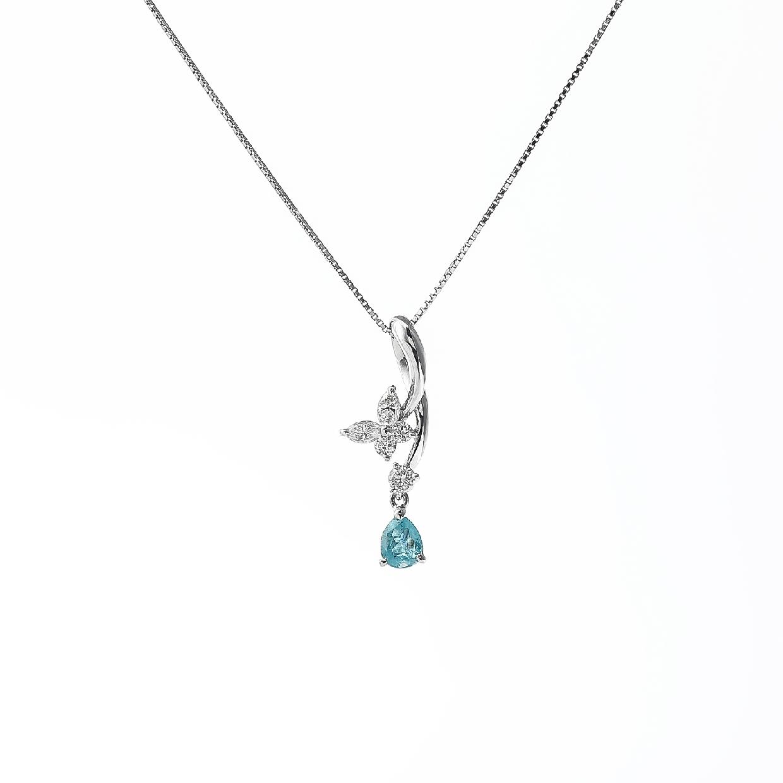 パラバトルマリンとダイヤモンドのネックレス 02