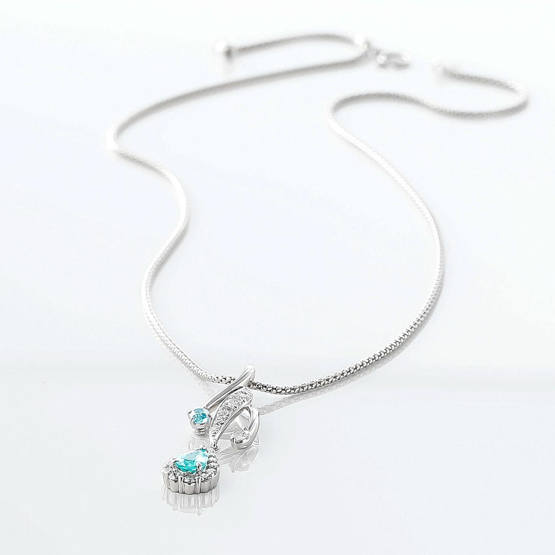 パライバトルマリンとダイヤモンドのネックレス 02