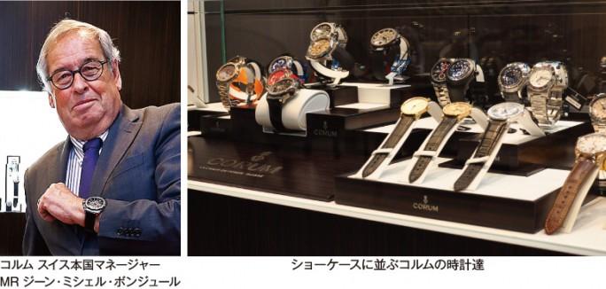 ショーケースに並ぶコルムの時計達