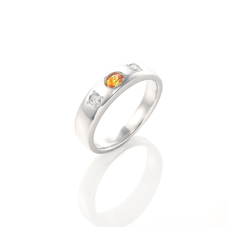 マンダリンガーネットとダイヤモンドのリング 01