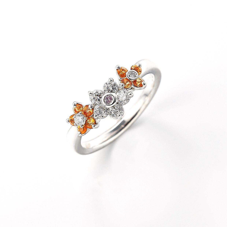 オレンジサファイアとダイヤモンドのリング 01