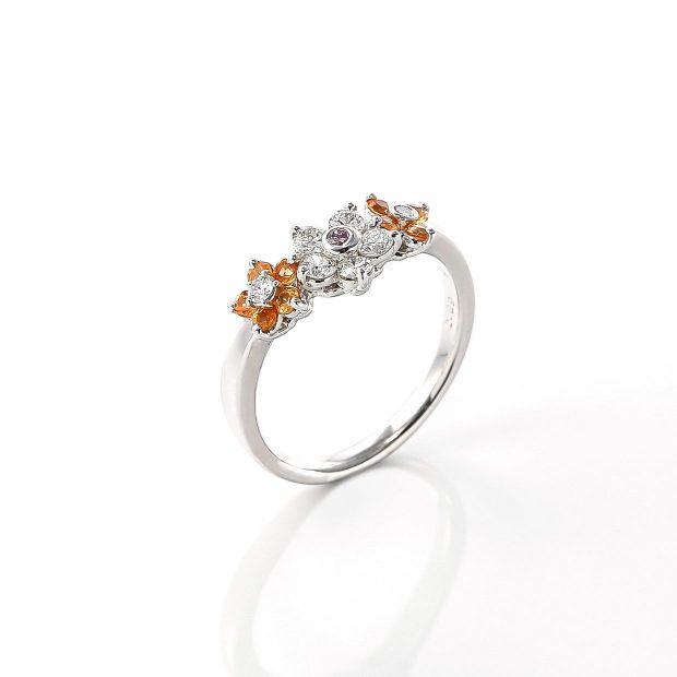 オレンジサファイアとダイヤモンドのリング 02