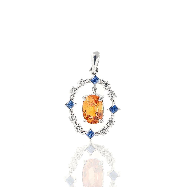 スペサルティンガーネットとサファイアダイヤモンドのネックレス 01