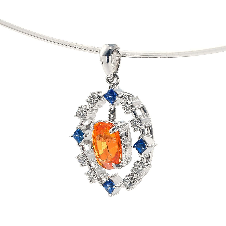 スペサルティンガーネットとサファイアダイヤモンドのネックレス 02