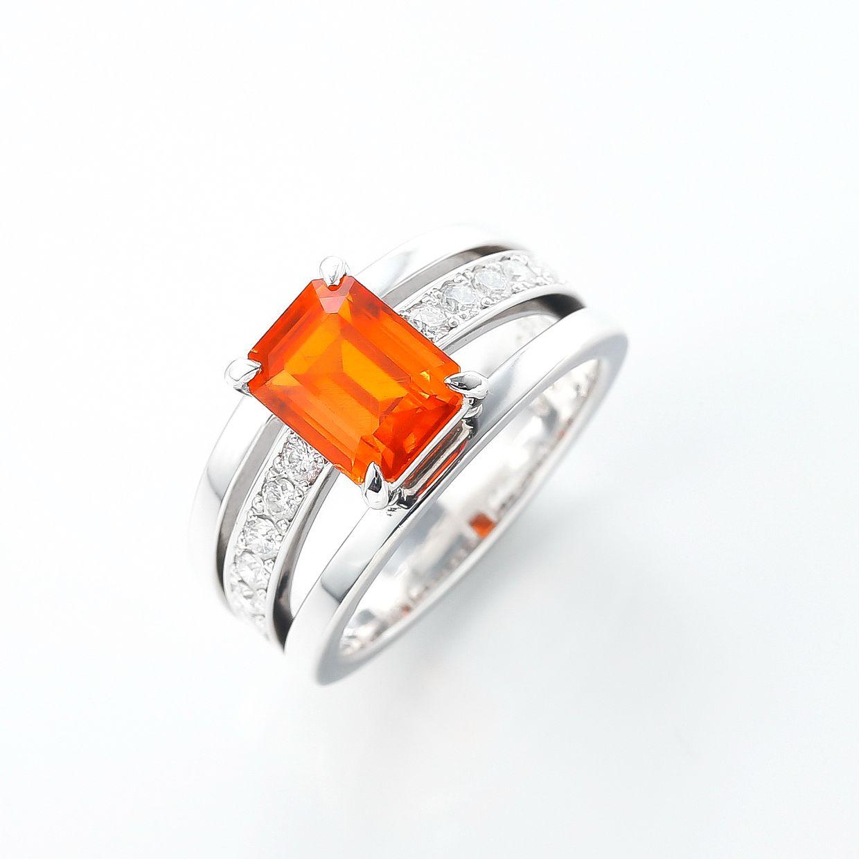 スペサルティンガーネットとダイヤモンドのリング 01