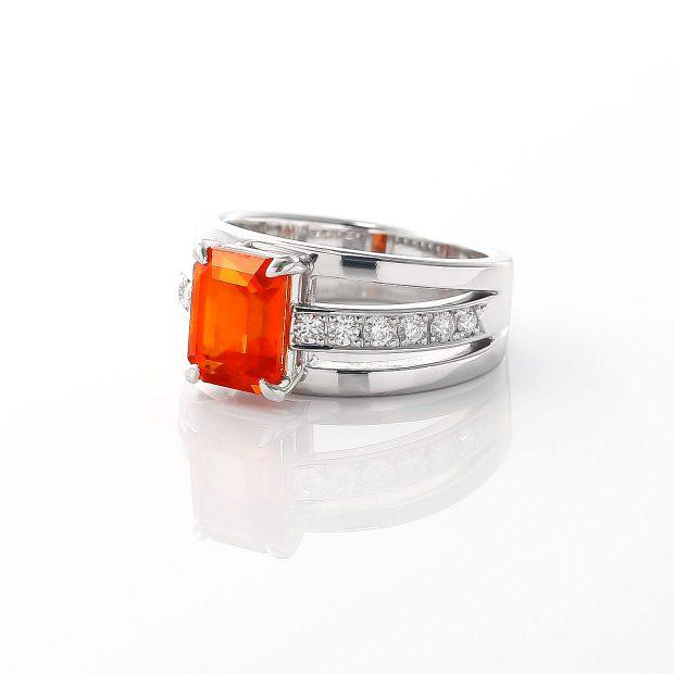 スペサルティンガーネットとダイヤモンドのリング 02