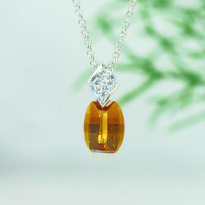 シトリンダイヤモンドプラチナネックレス1