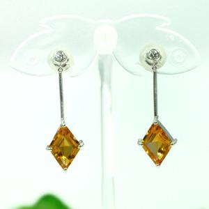 シトリンダイヤモンドプラチナピアス4