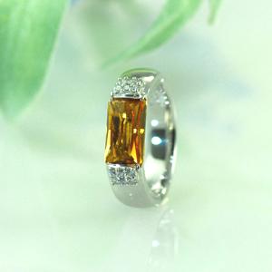 シトリンダイヤモンドプラチナリング5