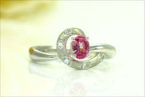 パパラチアサファイアダイヤモンドプラチナリング5