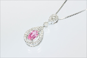 パパラチアサファイアダイヤモンドプラチナネックレス5
