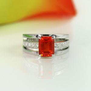 スペサルティンガーネットダイヤモンドプラチナリング1
